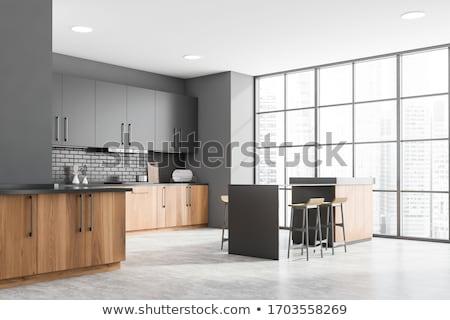 Luxus konyhaszekrény fából készült bútor fa konyha Stock fotó © vizarch