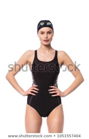 Mulher negra natação terno isolado branco mulher Foto stock © artjazz