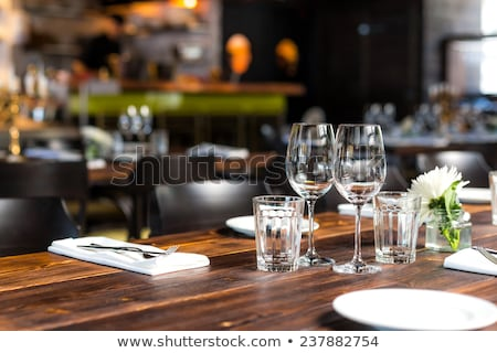 Photo stock: Vide · verres · restaurant · blanc · noir · photo · eau