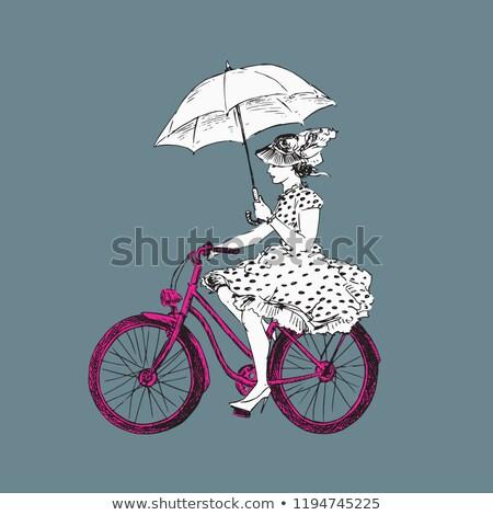 Kroki açmak şemsiye şapka bağbozumu stil Stok fotoğraf © kali