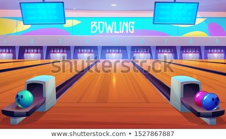 bowlingpálya · bowling · golyó · fapadló · háttér · csoport · csapat - stock fotó © stockshoppe