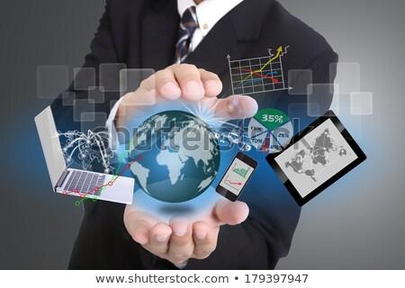 zakenman · gebruikt · hand · dekken · technologie · tool - stockfoto © hin255