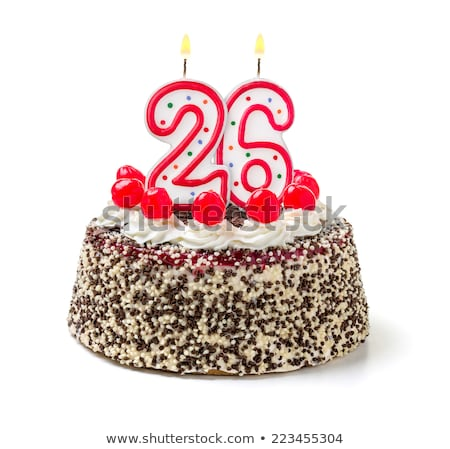 Bolo de aniversário ardente vela número 26 bolo Foto stock © Zerbor