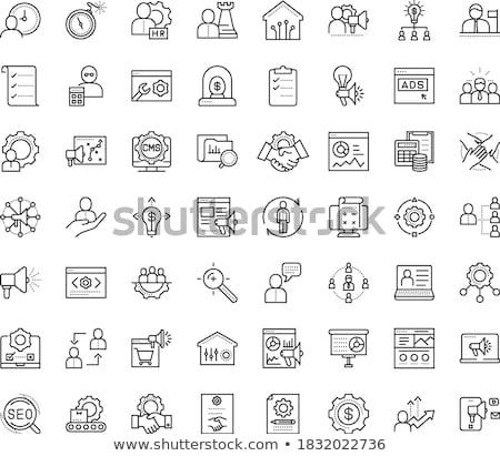 vector · artes · iconos · símbolo · trabajo · en · equipo · relación - foto stock © thanawong