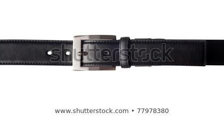 Black leather belt with a rectangular buckle Stock photo © ozaiachin