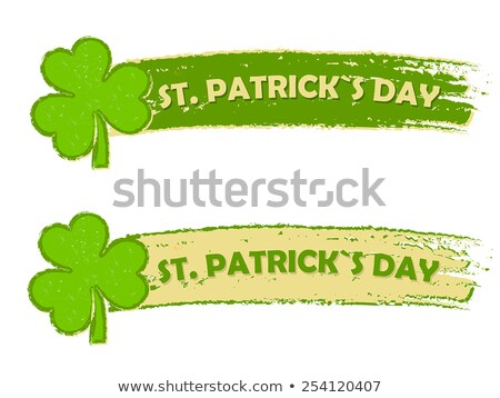 St. Patrick's day with shamrock signs, two green drawn banners Stock photo © marinini