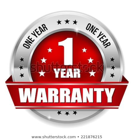 Rok gwarancja czerwony wektora ikona przycisk Zdjęcia stock © rizwanali3d