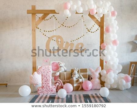Buli dekoráció girland fehér fal születésnap Stock fotó © CaptureLight