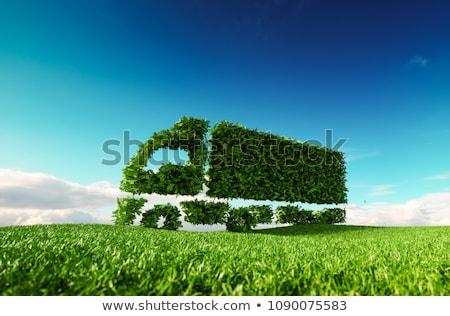 Эко грузовика Vintage зеленый изолированный белый Сток-фото © nelsonart