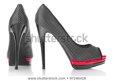 elegante · botas · isolado · branco · mulher · fundo - foto stock © ozaiachin