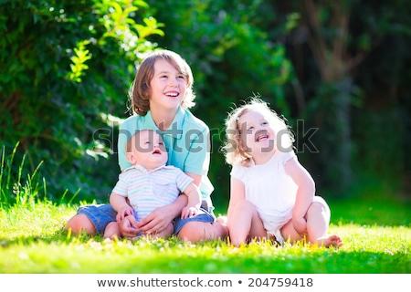fivér · lánytestvér · gyep · ölel · kettő · gyerekek - stock fotó © JFJacobsz