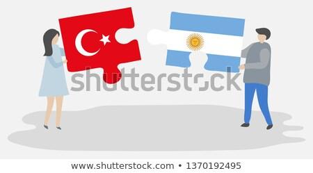 Argentinien Türkei Fahnen Puzzle isoliert weiß Stock foto © Istanbul2009