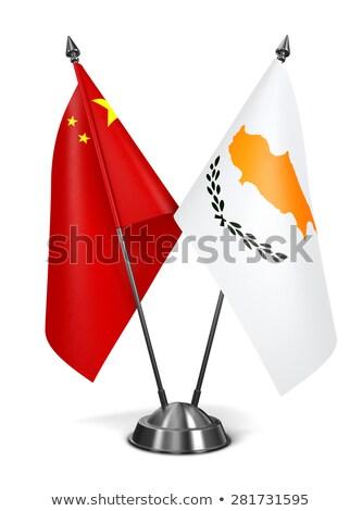 Çin Kıbrıs minyatür bayraklar yalıtılmış beyaz Stok fotoğraf © tashatuvango