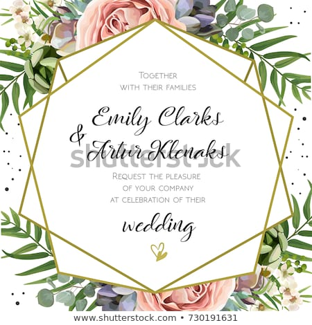 Stock photo Wedding invitation border pink roses
