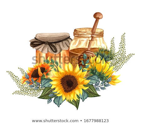 Honing zonnebloem pot ruw houten tafel Stockfoto © sharpner