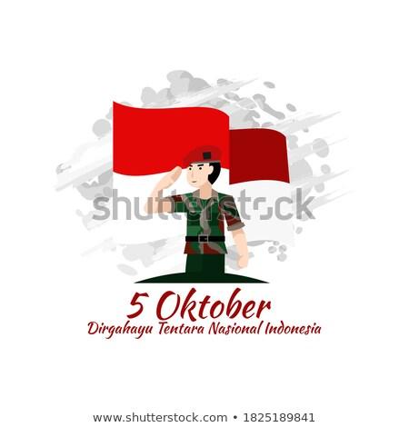 grupy · indonezyjski · żołnierz · tradycyjny · dziedzinie · pistolet - zdjęcia stock © tujuh17belas