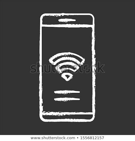 Stok fotoğraf: Kablosuz · router · tebeşir · tahta