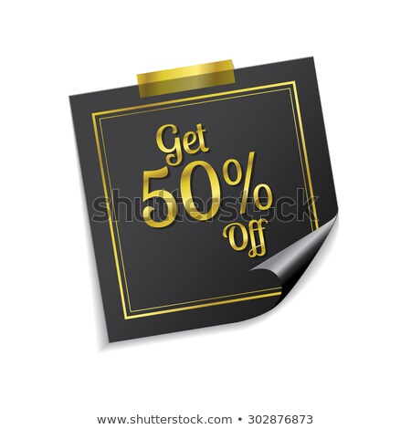 get 50 percent golden sticky notes vector icon design stock photo © rizwanali3d
