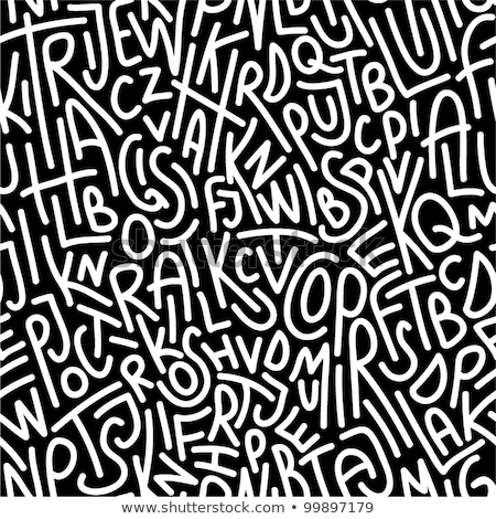 Stock photo: Hand Drawn Mix Letters Seamless Pattern