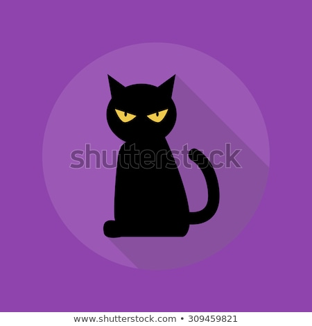 Flat design black cat icon with long shadow Stock photo © Elsyann