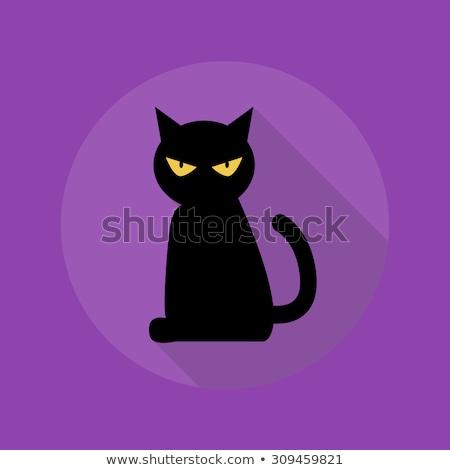 projeto · gato · preto · ícone · longo · sombra · ilustração - foto stock © Elsyann