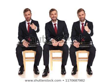 Trzy młodych biznesmenów pokaż gest Zdjęcia stock © Paha_L