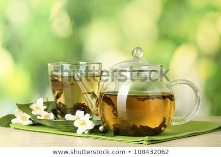 Transparent tasse thé vert table en bois eau Photo stock © tetkoren
