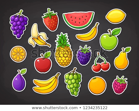 cartoon fruits stickers stock photo © kariiika