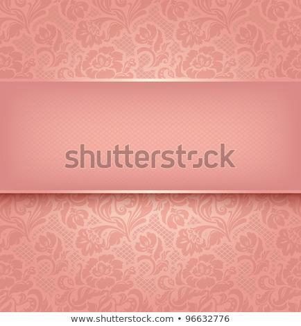Jahrgang rosa Hochzeitseinladung decken Spitze Dekoration Stock foto © liliwhite