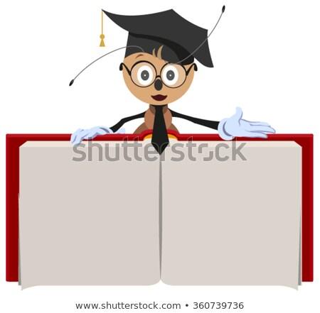 Formiga professor livro aberto isolado branco Foto stock © orensila