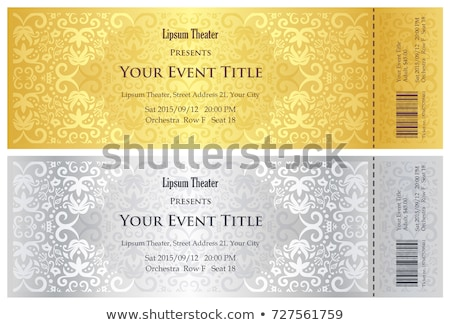 Luxury golden and silver theater ticket with vintage pattern Stock photo © liliwhite