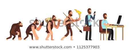 Stock photo: Concept of Human Evolution from Ape to Man