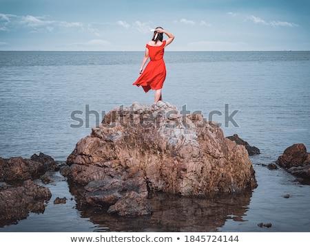 Сток-фото: красный · пород · побережье · длительной · экспозиции · выстрел · морем