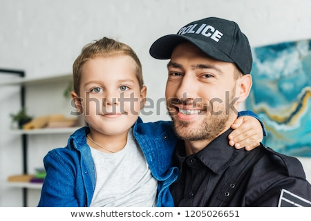 Polis çocuk güvenlik erkek çocuk şapka Stok fotoğraf © serdarduran