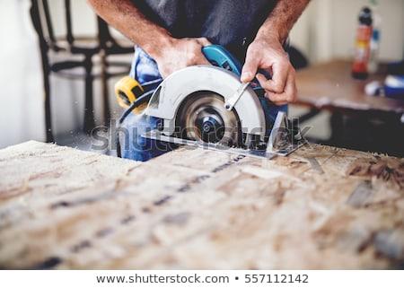ács vág fa deszka körkörös fűrész férfi Stock fotó © Kzenon