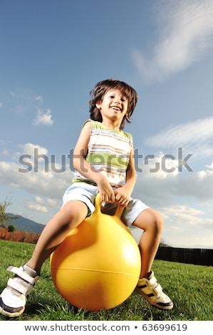 erkek · top · çayır · gökyüzü · çim · futbol - stok fotoğraf © zurijeta