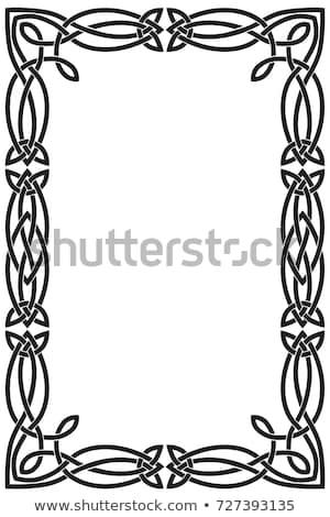 Celtic knot braided white frame - rectangle on black Stock photo © RedKoala