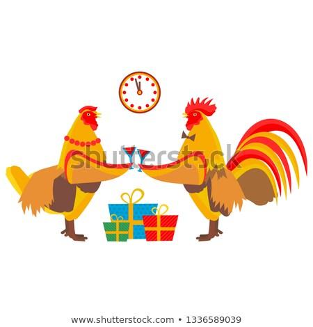 blue rooster symbol 2017 santa cock drink champagne stock photo © orensila