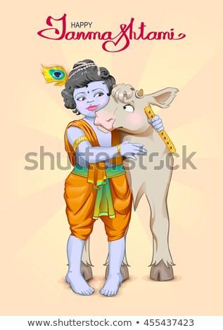 Krishna metin tebrik kartı Tanrı çoban inek Stok fotoğraf © orensila