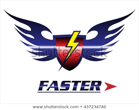 faster. shield & wings with the light icon Stock photo © HunterX