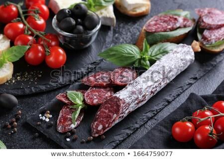 Picante secar salchicha cuchara de madera carne suelo Foto stock © Digifoodstock