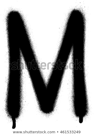 sprayed M  font graffiti with leak in black over white Stock photo © Melvin07