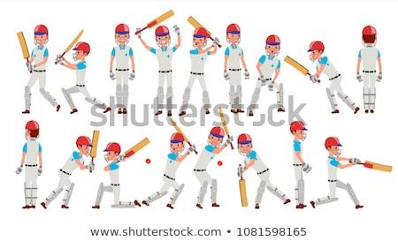 Masculino críquete jogador ilustração branco fundo Foto stock © bluering