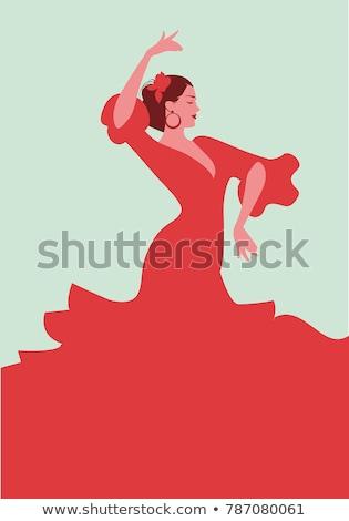 Belo dançarina vestido vermelho cara mulheres Foto stock © konradbak