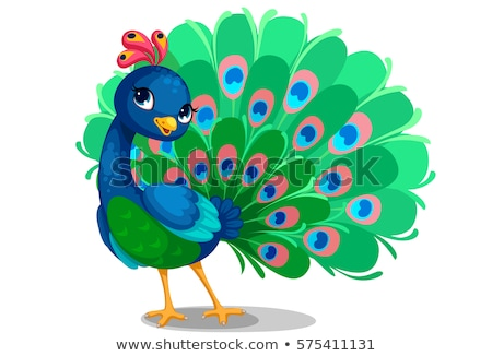 かわいい 孔雀 漫画 風景 背景 鳥 ストックフォト © jawa123