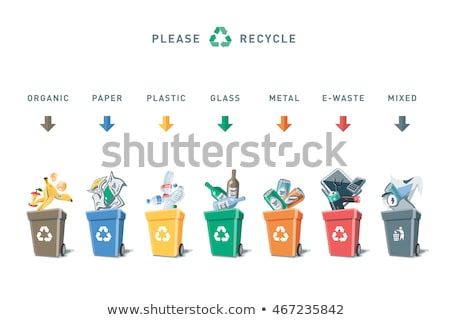 garbage of recyclable materials paper plastic metal and glass Stock photo © italianestro