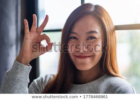 meisje · vinger · teken · vector - stockfoto © kali