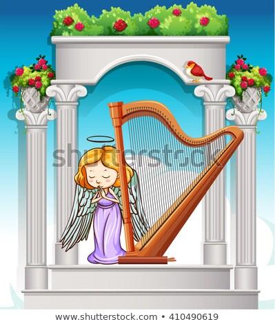 Anjo jogar harpa jardim ilustração fundo Foto stock © bluering