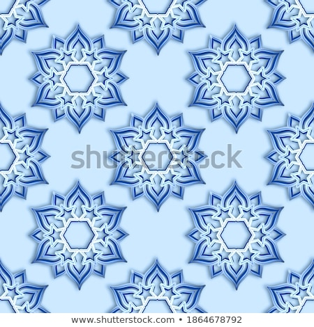 Snowflake seamless pattern. Volumetric snowfall from  Blue Snowf Stock photo © popaukropa