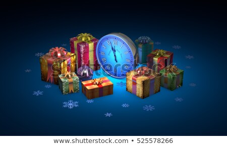 Christmas fairy-tale gifts. Beautiful boxes, clock. New Year. 3D Stock photo © grechka333